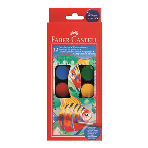 Farby vodové Faber-Castell 12 farebné, 24mm