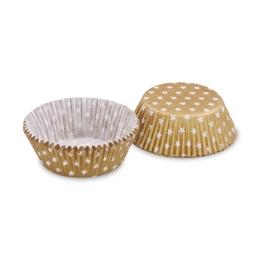 Cukr. košíčky zlaté s bielymi hviezdičkami O 50 x 30 mm (40ks)