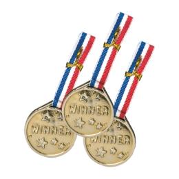 Párty medaila PVC zlatá, sada 3 ks