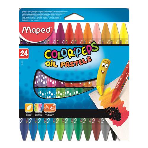 """Pastely olejové MAPED """"COLOR`PEPS"""", 24 ks"""