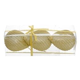 Vianočné ozdoby - PS zlaté - s korálkami 10,5 cm, sada 3ks