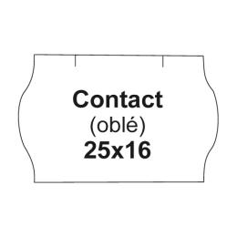 Etikety cen. CONTACT 25x16 oblé - 1125 etikiet/kotúčik, biele