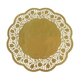 Krajky dekor. okrúhle 36 cm  zlaté (4 ks v bal.)