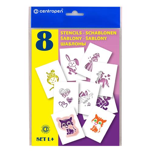 Šablóny papierové CENTROPEN 9996/L Motívy pre dievčatá, sada 8 ks