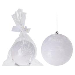 Vianočná guľa - PS 120 mm/biela, 1ks