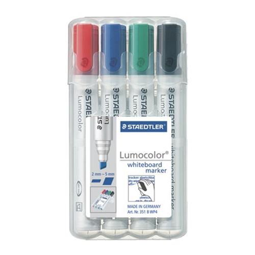 """Popisovač na tabuľu a flipchartovú tabuľu, zrezaný hrot, STAEDTLER """"Lumocolor 351 B"""" (4ks)"""