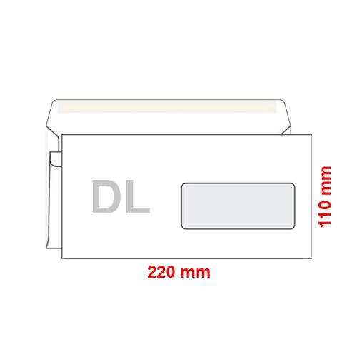 Obálka DL 110x220 mm samolepiaca, s okienkom, 100 ks