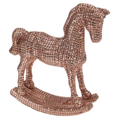 Figúrka - Kôň hojdací/medený štras 30 cm