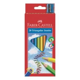 ECO pastelky Faber-Castell trojhranné so strúhadlom 12ks, farebné