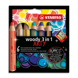Pastelky STABILO woody 3in1 Arty, sada 6 ks + strúhadlo