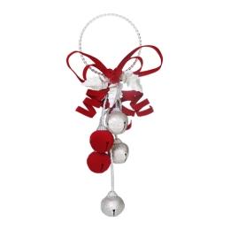 Vianočná dekorácia - červeno/strieborné rolničky 28 cm, 1ks