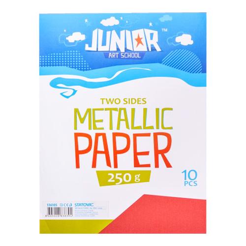 Dekoračný papier A4 Metallic červený 250 g, sada 10 ks