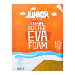 Dekoračná pena A4 EVA zlatá glitter samolepiaca 2,0 mm, sada 10 ks