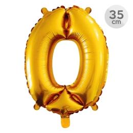 Balón narodeninový 35 cm - číslo 0, zlatý