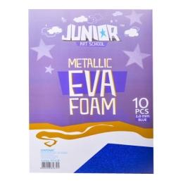 Dekoračná pena A4 EVA modrá metalická hrúba 2,0 mm, sada 10 ks