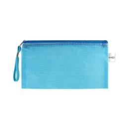 Sieťovaná obálka so zipsom PVC/DL, modrá
