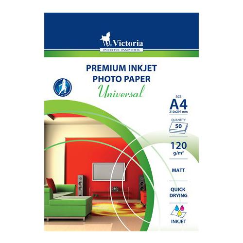 """Fotopapier, pre atramentové tlačiarne, A4, 120 g, matný, VICTORIA """"Universal"""""""