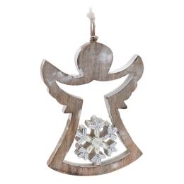 Vianočná ozdoba - drevená, anjel s korálkami 18,5 cm, 1ks