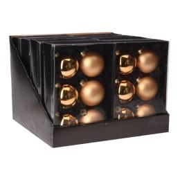 Vianočné gule - sklenené, zlaté 65 mm, set 6ks