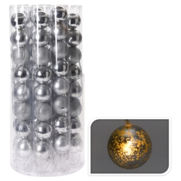 Svietiaca reťaz 8 LED - strieborné gule 8x70 mm, 230 cm