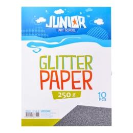 Dekoračný papier A4 10 ks čierny glitter 250 g