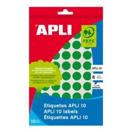 Etikety, okrúhle, priemer: 10 mm, ručne popisovateľné, farebné, APLI, zelené, 1008 etikiet