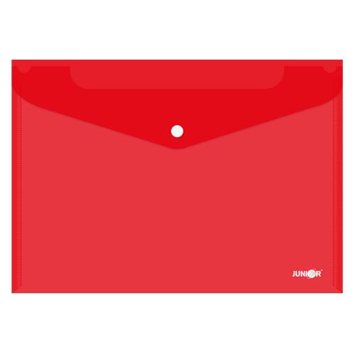 Obal s patentkou PP/A4, priehľadný/červený