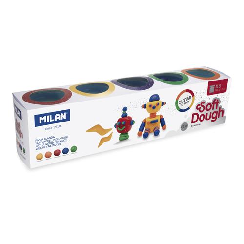 Plastelína MILAN Soft Dough glitrové farby - sada 5 ks