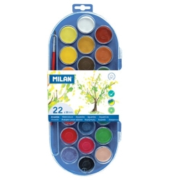 Farby vodové MILAN  - 22 farieb, 30mm