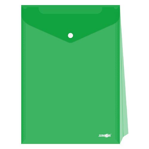 Obal s patentkou - rozšíriteľný PP/A4 Up, priehľadný/zelený