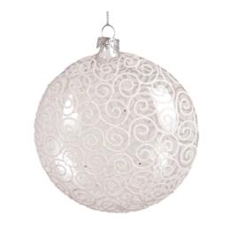 Vianočná guľa - sklenená, číra 105 mm, 1ks