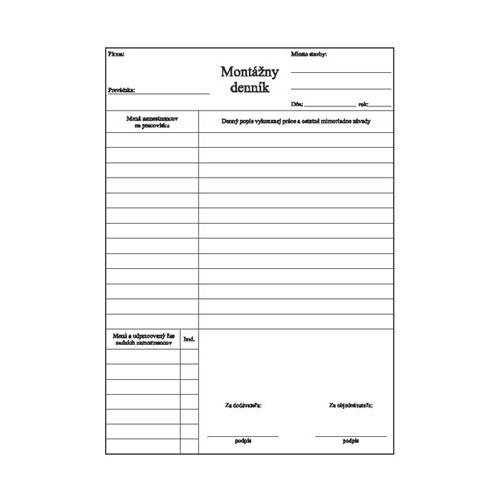 Montážny denník A4 samoprepis (304)