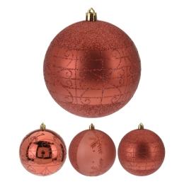 Vianočná guľa - PP 120 mm/červená, mix/1ks