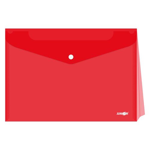 Obal s patentkou - rozšíriteľný PP/A4, priehľadný/červený