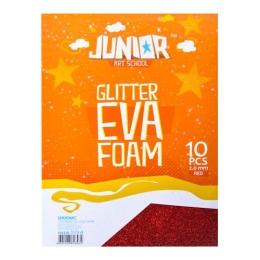 Dekoračná pena A4 EVA červená glitter hrúbka 2,0 mm, sada 10 ks