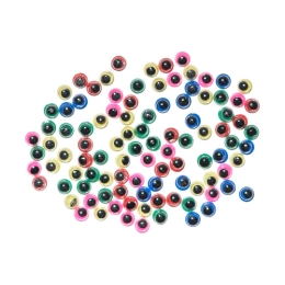 Dekorácia pohyblivé oči farebné 5 mm, sada 100 ks