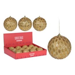 Vianočná guľa - PS 100 mm/zlatá glitter, mix/1ks