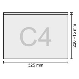 Obálka C4 transportná/priehľadná 325x220+15 mm, bal/50 ks