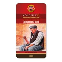 Pastelky KOH-I-NOOR Mondeluz, akvarelové, sada 12 ks v plech. boxe