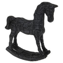 Figúrka - Kôň hojdací/čierny štras 30 cm