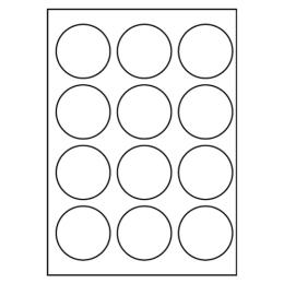 Etikety PRINT kruh 60 biele 12 etikiet / A4