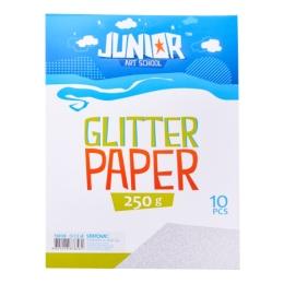 Dekoračný papier A4 Glitter strieborný 250 g, sada 10 ks