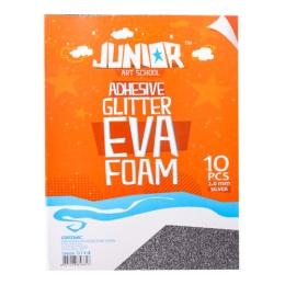 Dekoračná pena A4 EVA Glitter strieborná samolepiaca 2.0 mm, sada 10 ks
