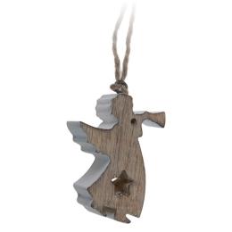 Vianočná ozdoba - drevená, hnedo/biely anjel 11 cm, 1ks
