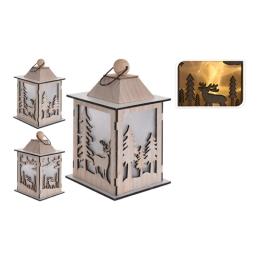 Lampáš drevený s LED sviečkou/efekt reálneho plameňa - drevený 22 cm, mix/1ks