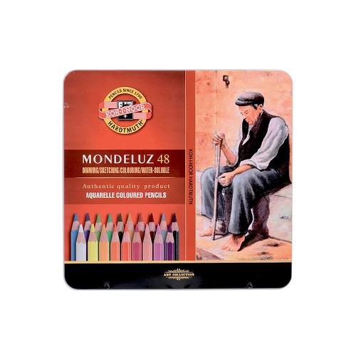 Pastelky KOH-I-NOOR Mondeluz, akvarelové, sada 48 ks v plech. boxe