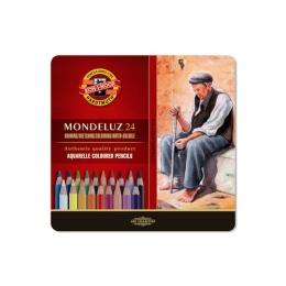 Pastelky KOH-I-NOOR Mondeluz, akvarelové, sada 24 ks v plech. boxe