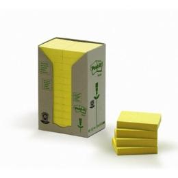 Samolepiaci bloček, 38x51 mm, 24x100 listov, ekologický, 3M POSTIT, žltý