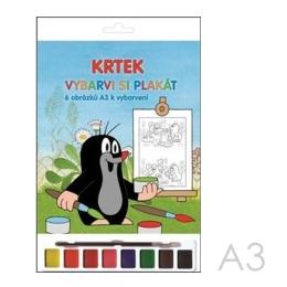 Omaľovánky A3 Akim plagátové /6ks/ - Krtko s vodovými farbami