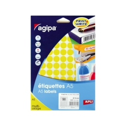 Etikety kruhové 15 mm Agipa A5 žlté